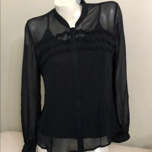 NWT Worthington Sheer blouse built in cami M